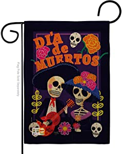 Breeze Decor Dia de Muertos Couple Garden Flag Fall Day of Dead Los Fiesta Mexican Party Autumntime House Decoration Banner Small Yard Gift Double-Sided, Thick Burlap, Made in USA