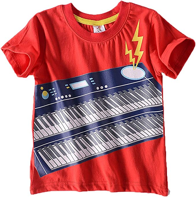 Fineser Little Boys Cartoon Print Short Sleeve T-Shirt Tops Summer Casual Tee for 2-8T