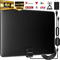 TV Aerial, Indoor TV Aerial 150 Miles Freeview Aerial with Amplifier Signal Booster, 4K 1080P Ultra HD Stronger Reception TV Signals, VHF/UHF/FM & 13.2FT Coax Cable & USB Power Adapter