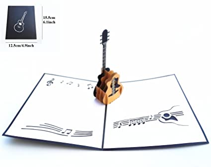 Amazon 4 Pcs Guitar Pop Up Greeting Cards For Music Lovers