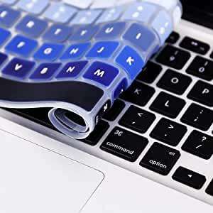 """Keyboard Cover Compatible MacBook Pro 13"""" 15"""" (2015 or Older Model) /MacBook Air 13 A1369 A1466 Keyboard (!!!Not Fit for 2016-2018 New MacBook Pro 13 15) US Layout -Ombre Blue"""