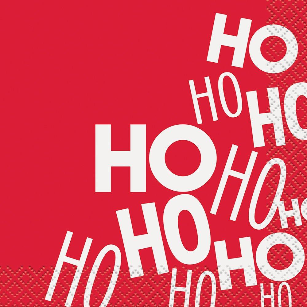 レッドHo Ho Hoクリスマスカクテルナプキン、16 ct   B0743K1C1X