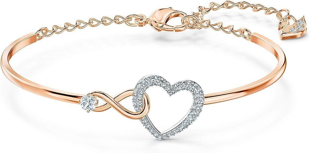 Amazon.com: Swarovski Infinity Heart Women's Bangle Bracelet with ...