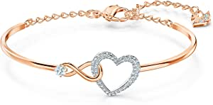 Swarovski Brazalete Swarovski Infinity Heart, blanco, combinación de acabados metálicos