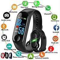 SHOPTOSHOP M3 Smart Band Fitness Tracker Watch Heart Rate with Activity Tracker Waterproof Body Functions Like Steps Counter, Calorie Counter, Blood Pressure, Heart Rate Monitor LED Touchscreen