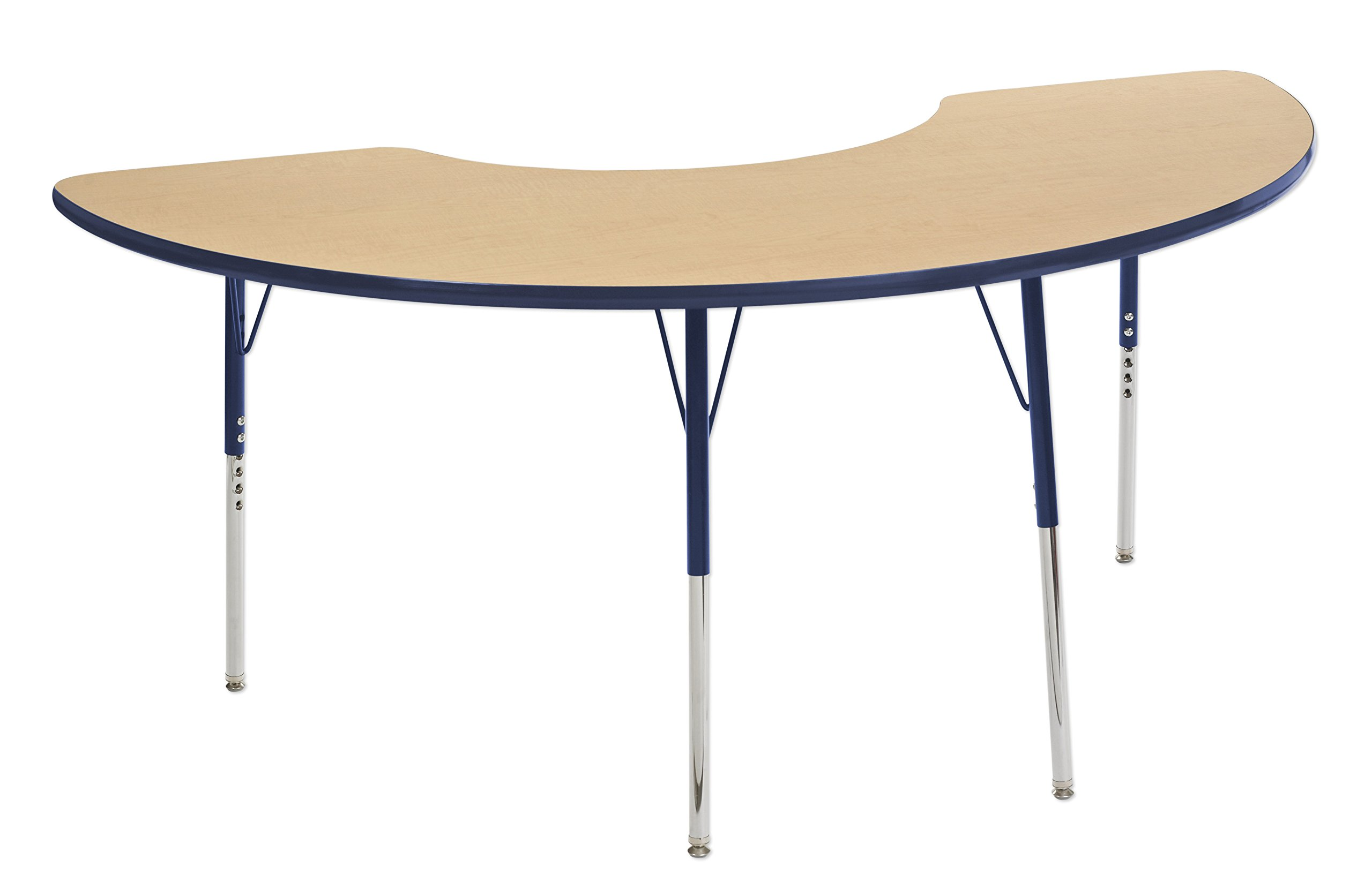 ECR4Kids 36'' x 72'' Half Moon Activty School Table, Toddler Legs w/Swivel Glides, Adjustable Height 15-23 inch (Maple/Navy)