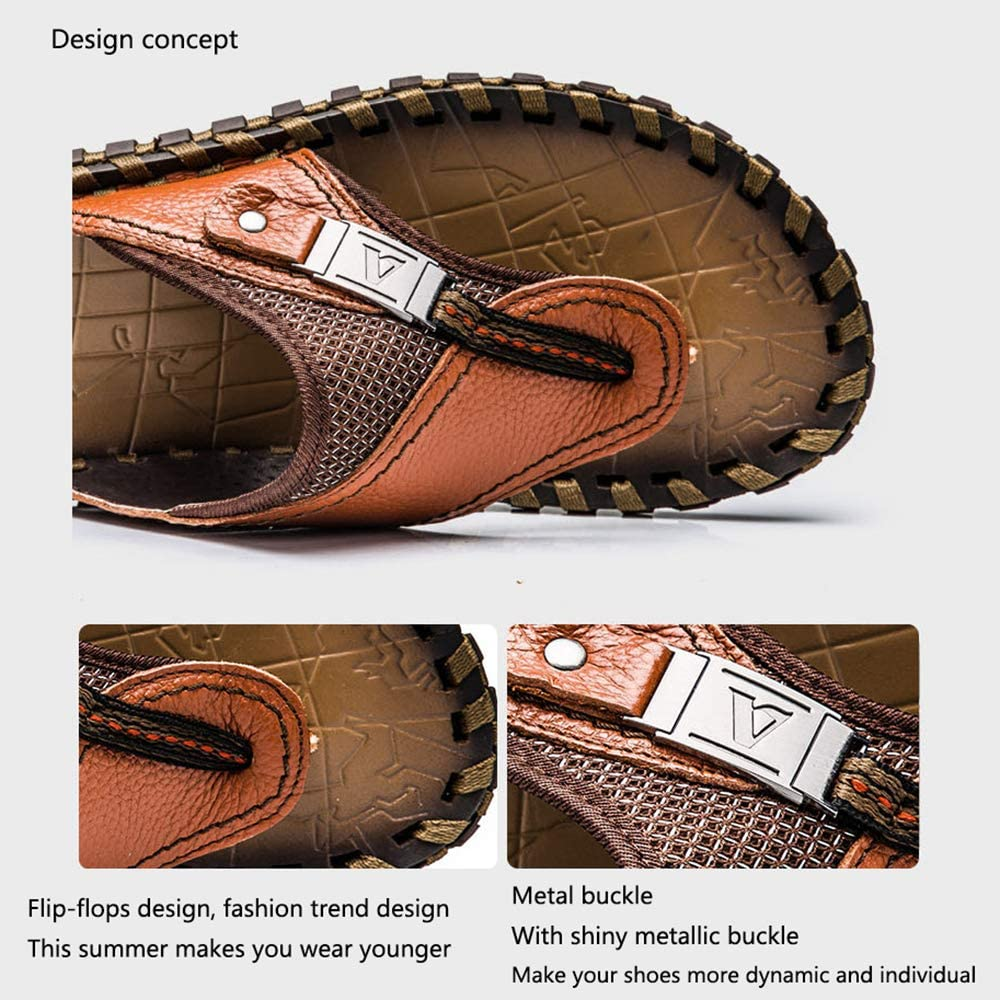 Handmade Leather Non-Slip Mens flip-Flops Large Size Breathable Lightweight Casual Flats Mens Summer Beach Slippers Suitable for Outdoor//Indoor//Beach//Fishing