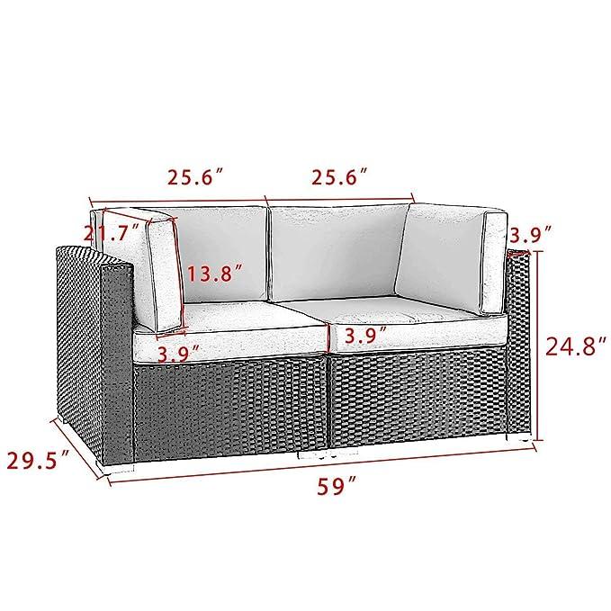 Amazon.com: Juego de sofá esquinero seccional de mimbre para ...