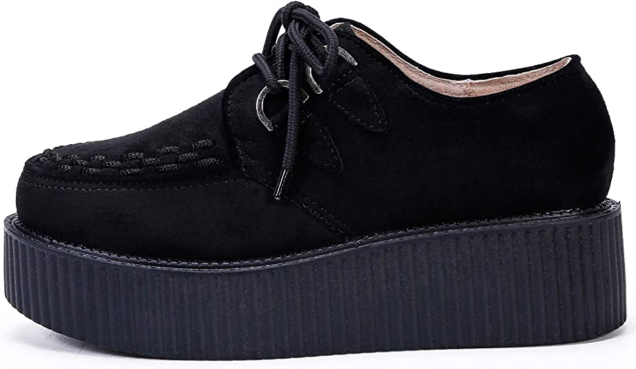 Ajvani Womens Ladies Flat Double Platform Wedge lace up Goth Creepers Shoes Boots Size