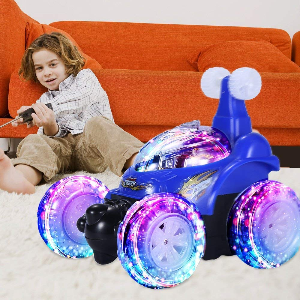 UTTORA Remote Control Car, RC Car Invincible Tornado Twister Remote Control Rechargeable  Stunt Vehicle with Colorful Lights and Music Switch for Kids