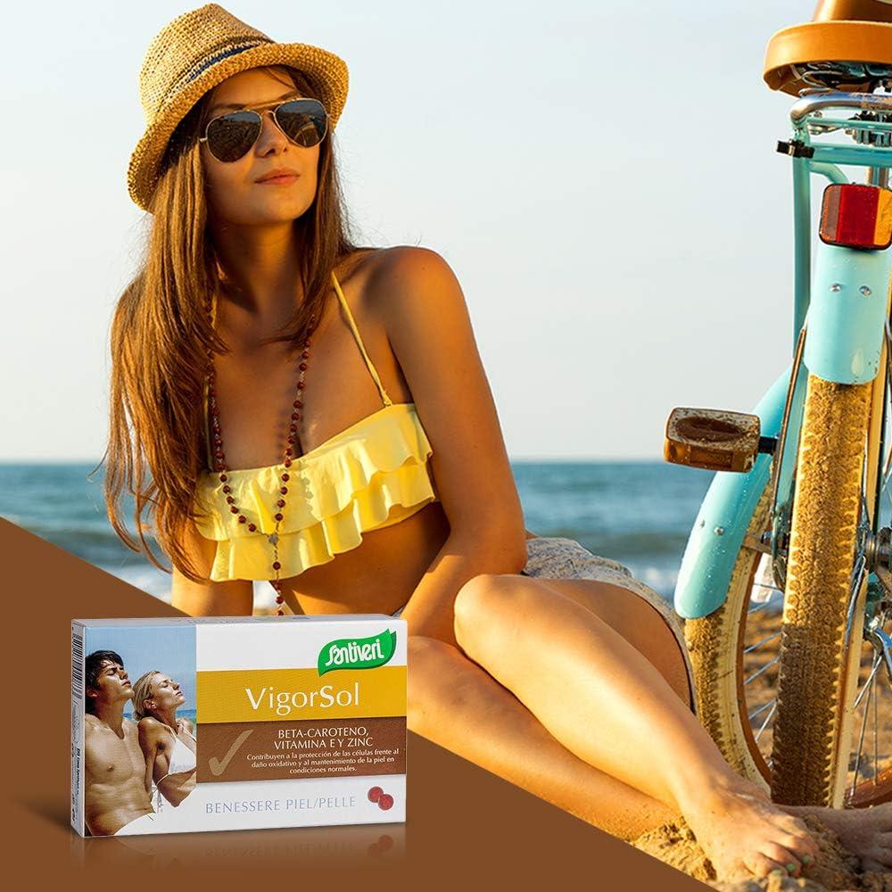 Vigor Sol de Santiveri (40 cápsulas en formato perla) CON gluten : Complemento alimenticio que potencia la melanina corporal y ayuda a acelerar el ...