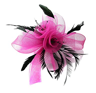 9c3afaec44e8 Fuchsia Hot Pink Butterfly Black Feather Wedding Ascot Fascinator on Comb  Hat Hair Accessories