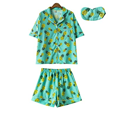 a406a9784349 Women Cute Pajamas Set Pineapple Korean Fashion Short Sleepwear 3 Pieces