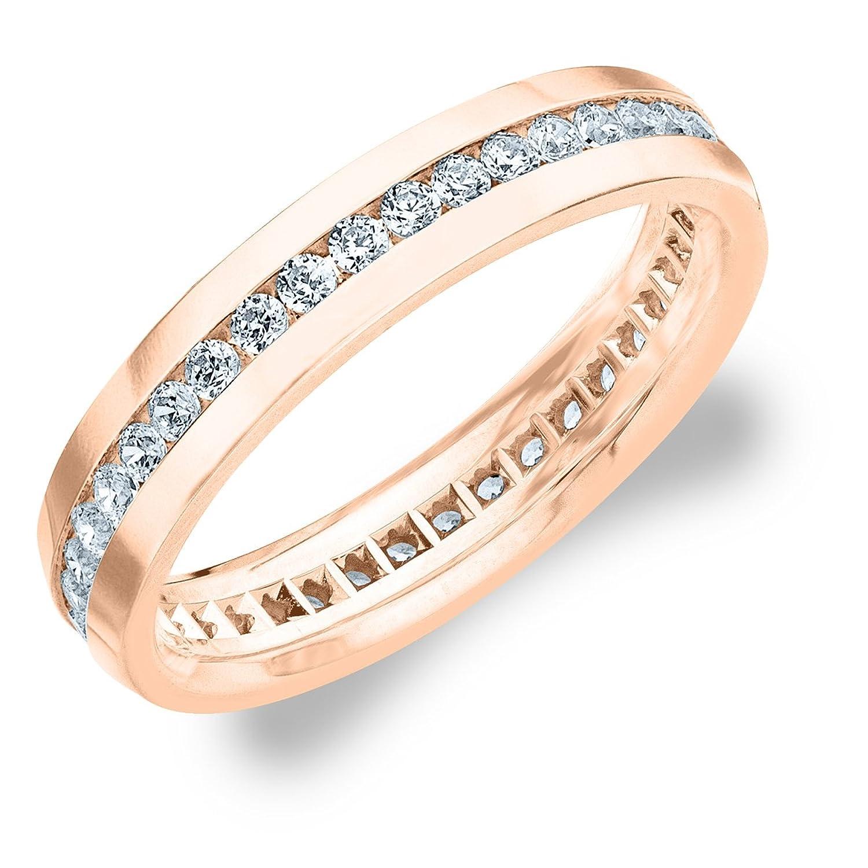 1.0 CTTW Men's Eternity Ring in 18K Rose Gold, Stunning Mens Diamond Ring