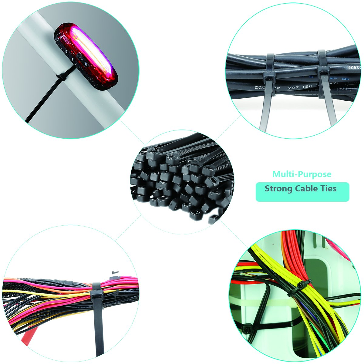 Cable Zip Ties Black 100 Pcs 10 Inch Flexible Nylon Wire Ties Ajustable Cable Cord Management Multi-Purpose Strong Self Locking Cable Ties For Electrical Accessories
