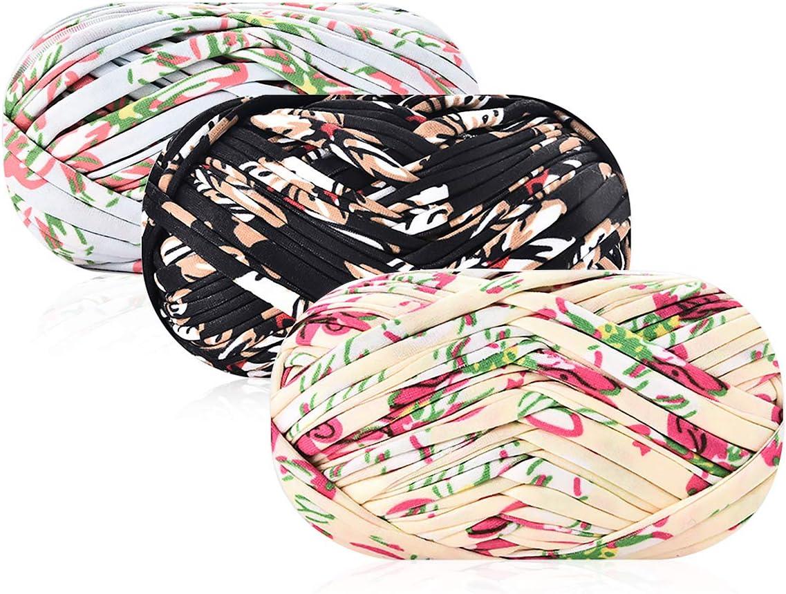 iSuperb 3 Pack Knitting Yarn Fabric Cloth T-Shirt Yarn Carpet Yarn for DIY Knitted Fabric Art Basket Bag (A)