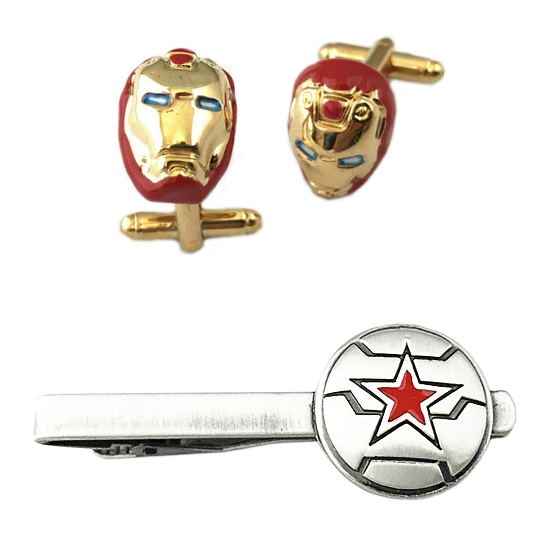Ironman Cufflink & Winter Soldier Tiebar - New 2018 Marvel Studios Superhero Movies - Set of 2 Gift Set Wedding Logo Novelty Jewelry Series w/Gift Box