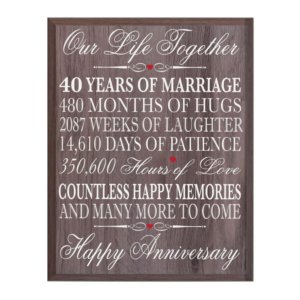 40th Wedding Anniversary Wall Plaque Gifts for Couple, 40th Anniversary Gifts for Her,40th Wedding Anniversary Gifts for Him 12'' W X 15'' H Wall Plaque By LifeSong Milestones (Salt Oak)