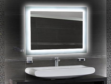 Badezimmerspiegel Mit Beleuchtung Led Spiegel 65x50 Cm Badspiegel Mit Licht Design Spiegel Fur Bad Und Gaste Wc Hinterleuchtet Beleuchteter
