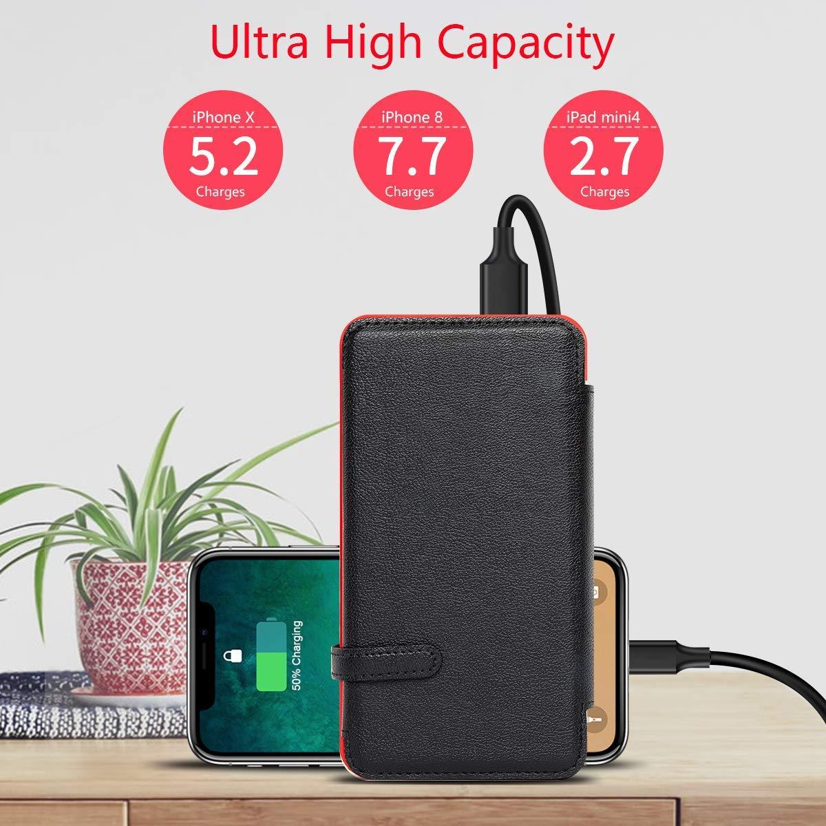 Soluser Bater/ía Externa Solar 20000mAh Solar Power Bank 2 Salidas USB Cargador Inal/ámbrico Port/átil con indicador de Estado LED y Linterna SOS para iPhone iPad Dispositivos Android
