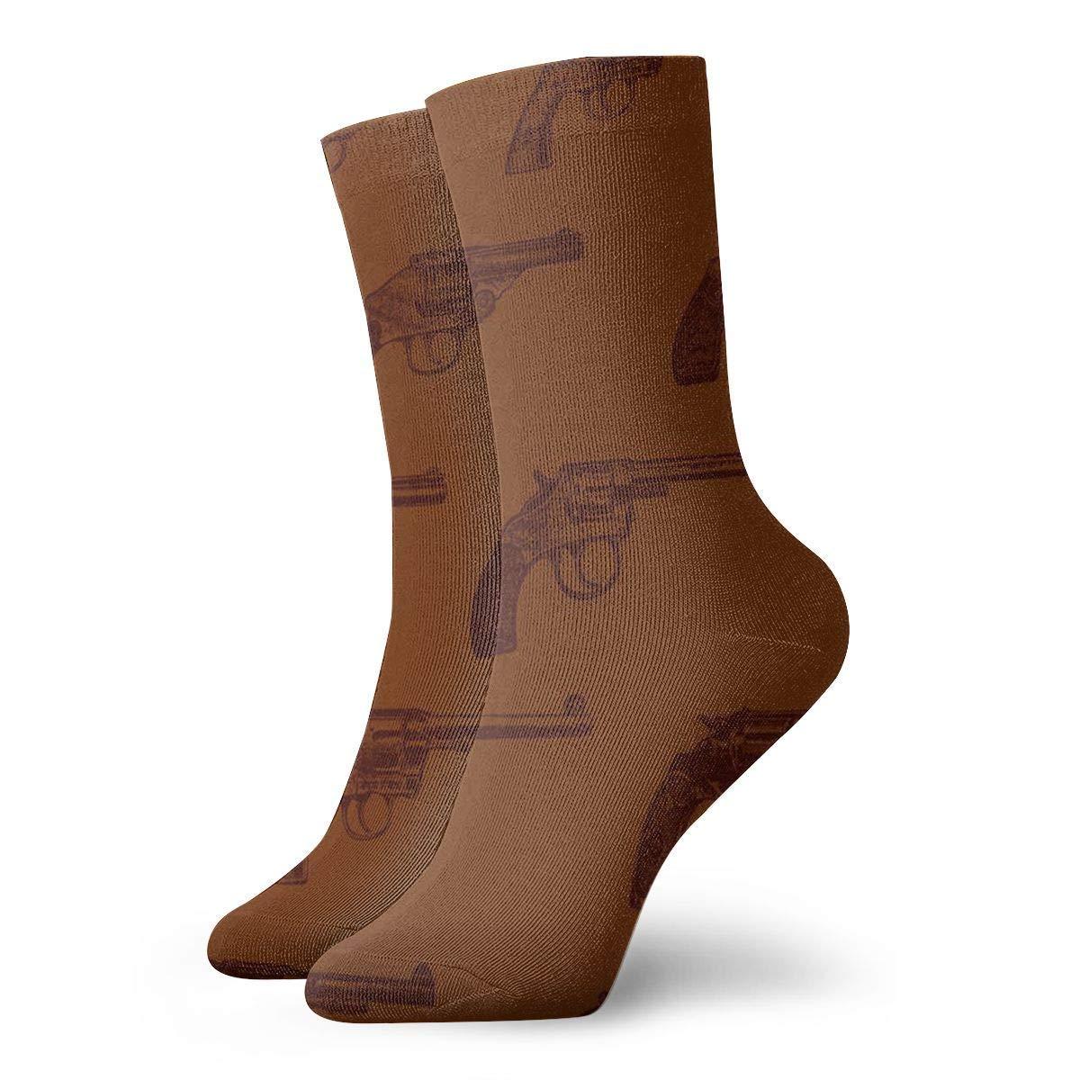Western Revolvers Men Women Novelty Funny Crazy Crew Sock Printed Sport Athletic Socks 30cm Long Personalized Gift Socks Hipiyoled
