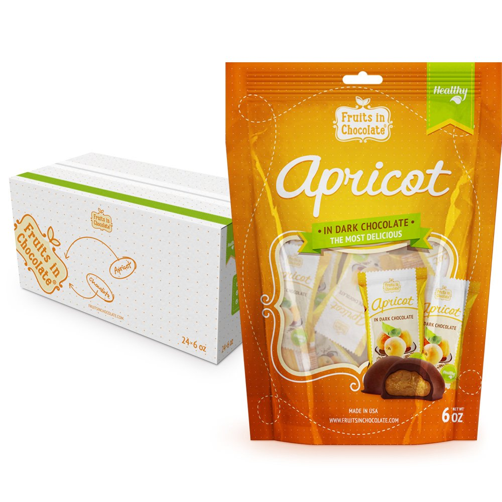Fruits in Chocolate Dark Chocolate Covered Apricots, 6 Oz Bag (Pack of 24) by Fruits in Chocolate