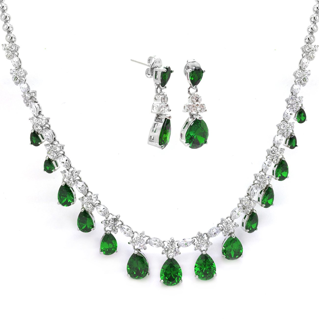 Sparkly Bride Jewelry Set Green Cubic Zirconia Multi Teardrop Bridal Party Necklace Matching Earrings Women Fashion