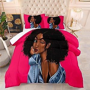 Black Girl Comforter Set Rose African American Black Woman Bedding Duvet Twin Size Quilt Sets Super Soft for Teenager ,1 Comfoter +1 Pillowcase