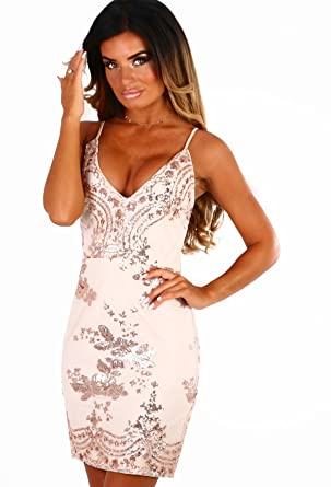 9411da01 Pink Boutique New Ladies Meilani Rose Gold Sequin Mini Dress: Amazon.co.uk:  Clothing