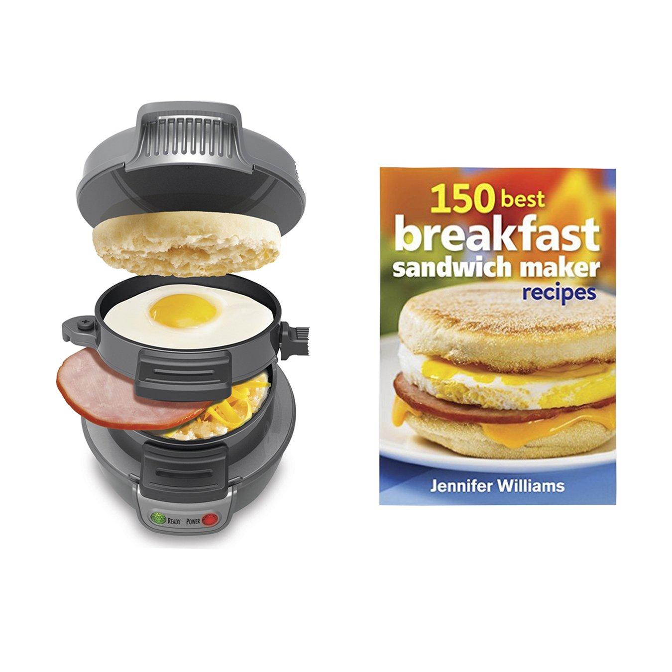 Hamilton Beach Breakfast Sandwich Maker Countertop, Silver + 150 Recipe Cookbook (Silver)
