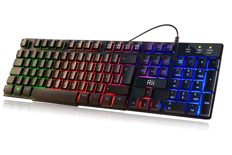 Rii RK100 7 Color Rainbow LED Backlit Mechanical Feeling ...
