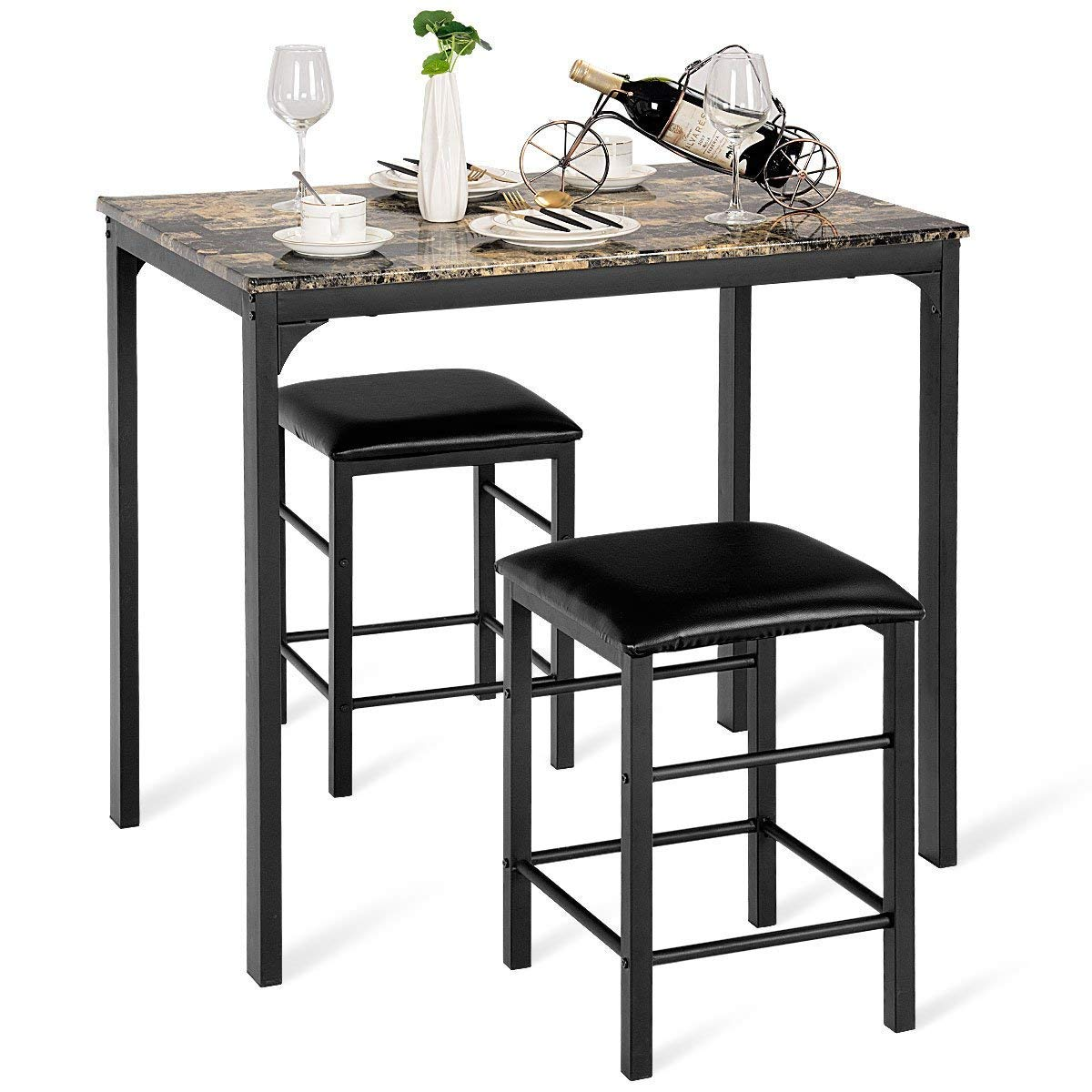 Casart 3 PCS Table Set Faux Marble Counter Home Kitchen Bar Dining Table with 2 Stools