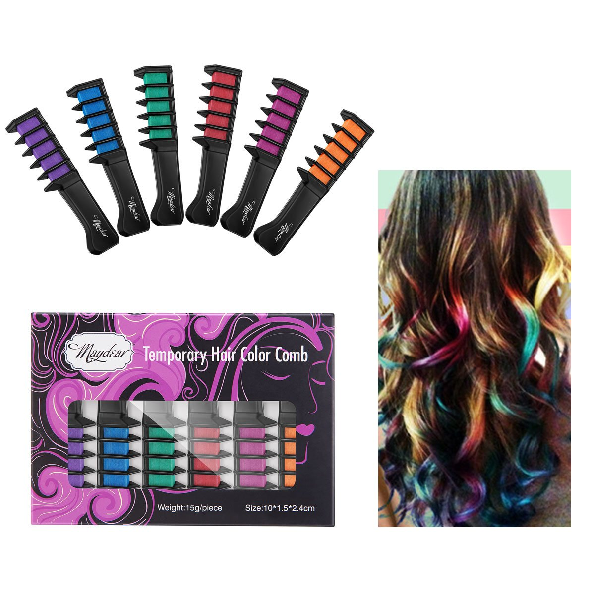Best rated in hair chalk helpful customer reviews amazon maydear temporary hair chalk comb non toxic washable hair color comb for hair dye solutioingenieria Image collections