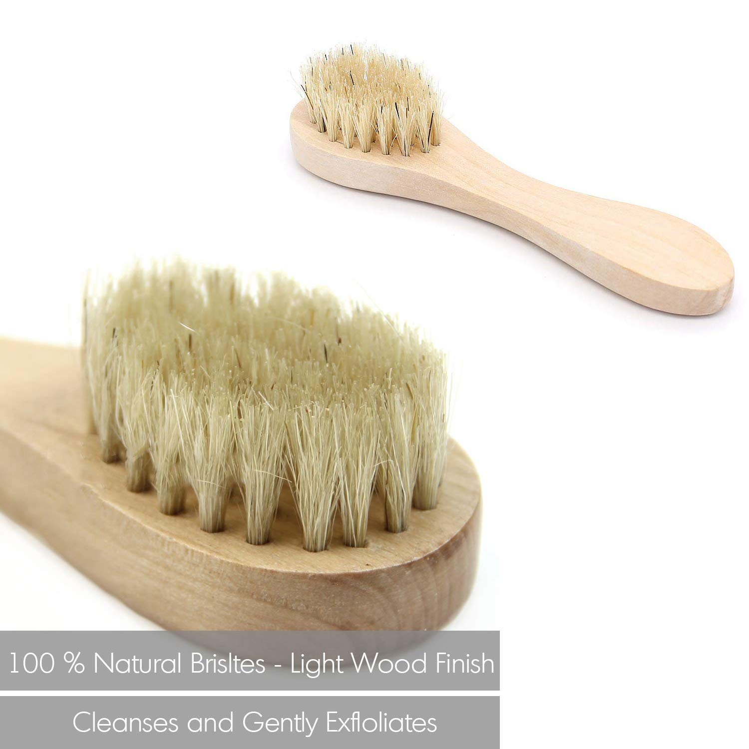 Dry Brushing Body Brush, 4 Pcs Detachable Natural Boar Bristle Body Brush Set with an Exfoliating Face Brush, a Shower Glove and a Massager Brush, Removes Dead Skin & Toxins