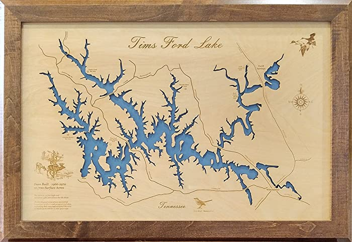 Amazon.com: Tims Ford Lake, Tennessee: Framed Wood Map Wall Hanging ...