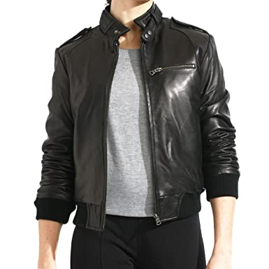 c61a1539bce Women s Black Genuine Lambskin Leather Bomber Jacket at Amazon ...