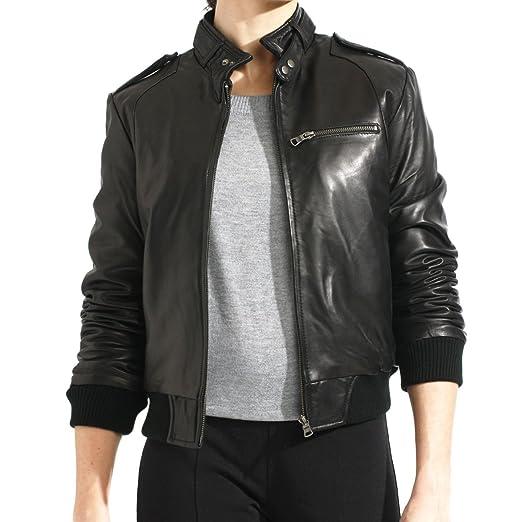 Women S Black Genuine Lambskin Leather Bomber Jacket At Amazon