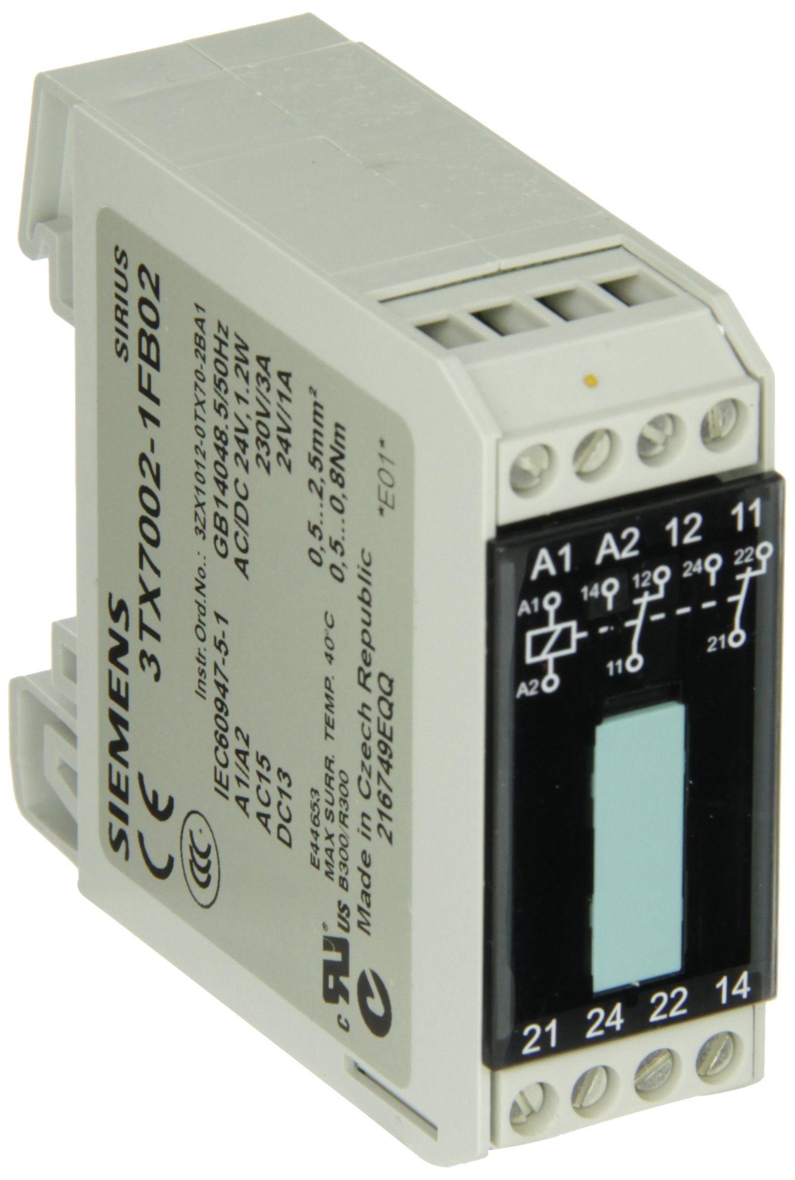 Siemens 3TX7002-1FB02 Interface Relay, Narrow Design, Screw Terminal, For Low Heights Between Tiers, Output Interface With Relay Output, Hard Gold Plated Contacts, 2 CO Contact, 22.5mm Width, 24VAC/DC Control Supply Voltage