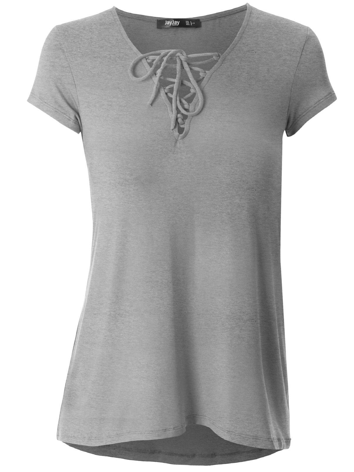 JayJay Women Cute Crisscross Neck Short Sleeve Casual Shirt Top,HeatherGray,3XL