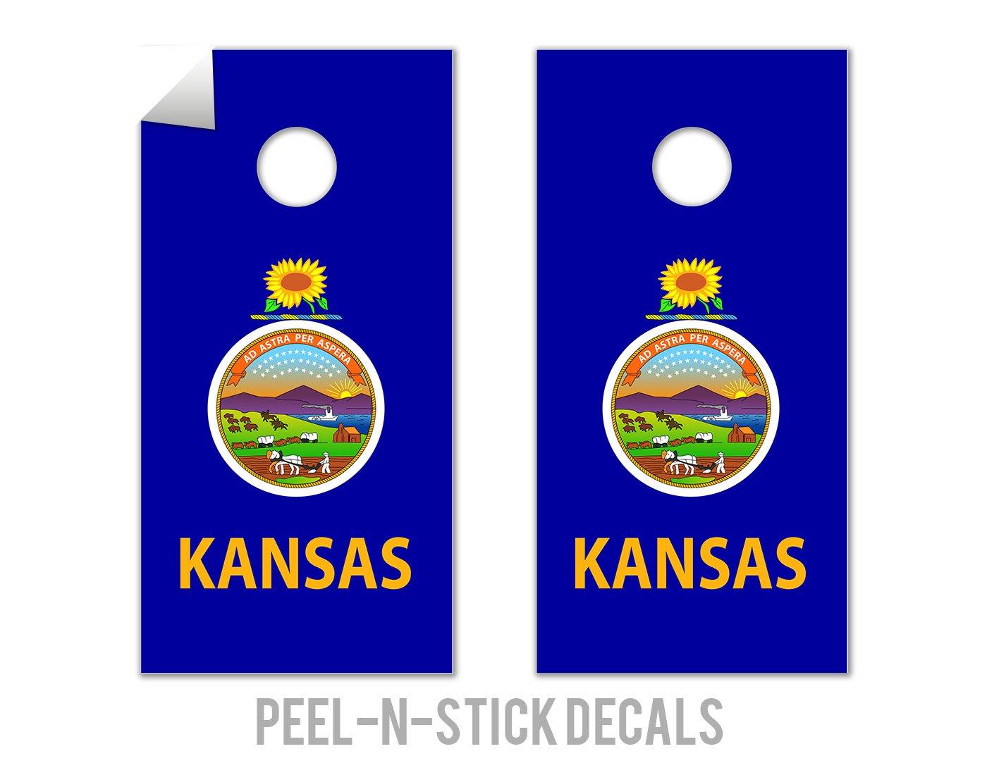 Kansas State Flag - Cornhole Crew - ACA Regulation Size Cornhole Board Decals by The Cornhole Crew
