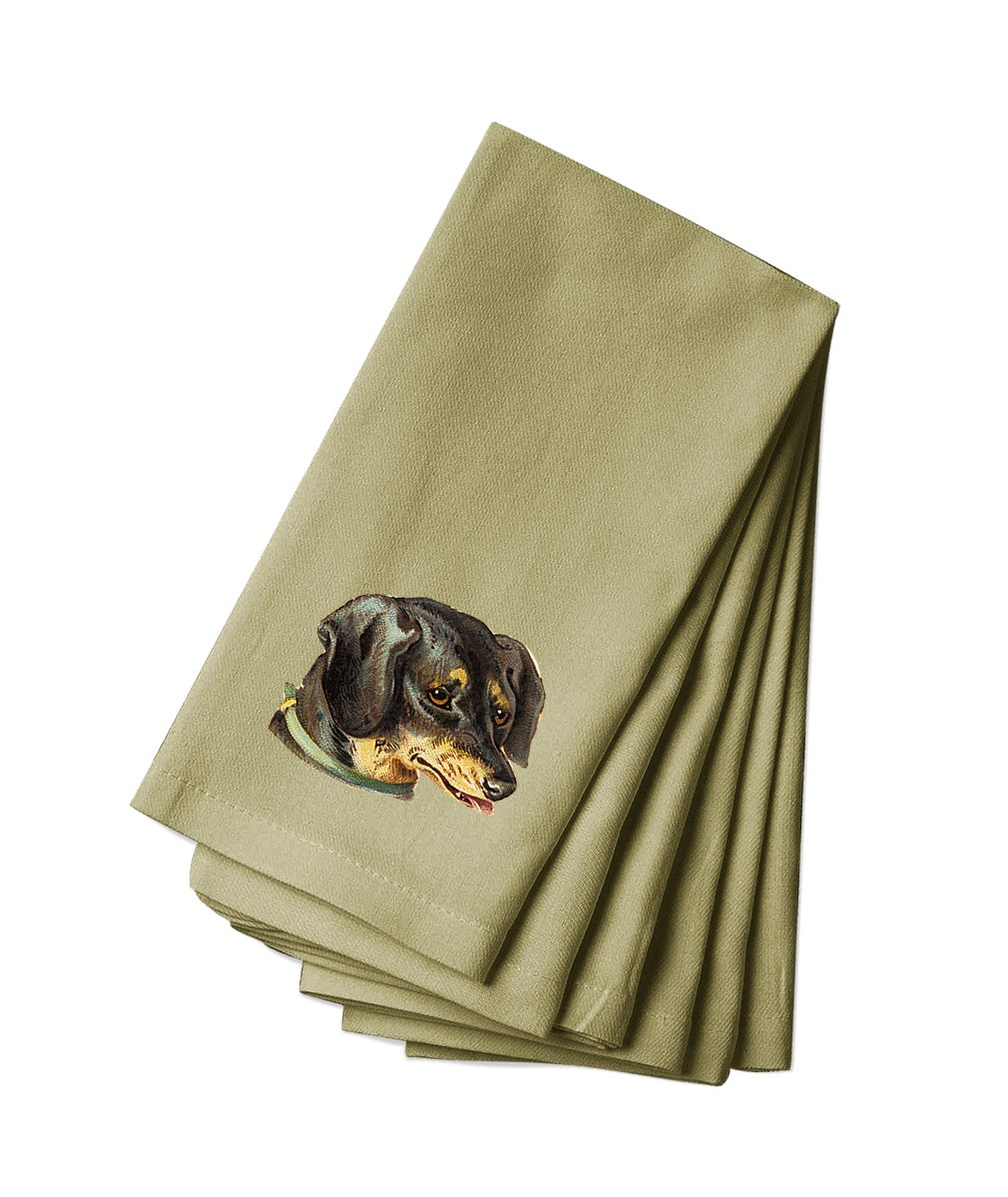 Style in Print Cotton Canvas Dinner Napkin Set Of 4 Dachshund Pets Animals By