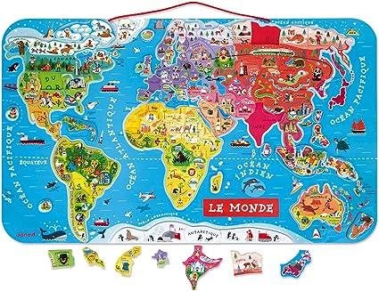 Janod - Puzzle magnético del Mundo de madera, Version en Francés, 92 piezas (J05500): Amazon.es: Juguetes y juegos