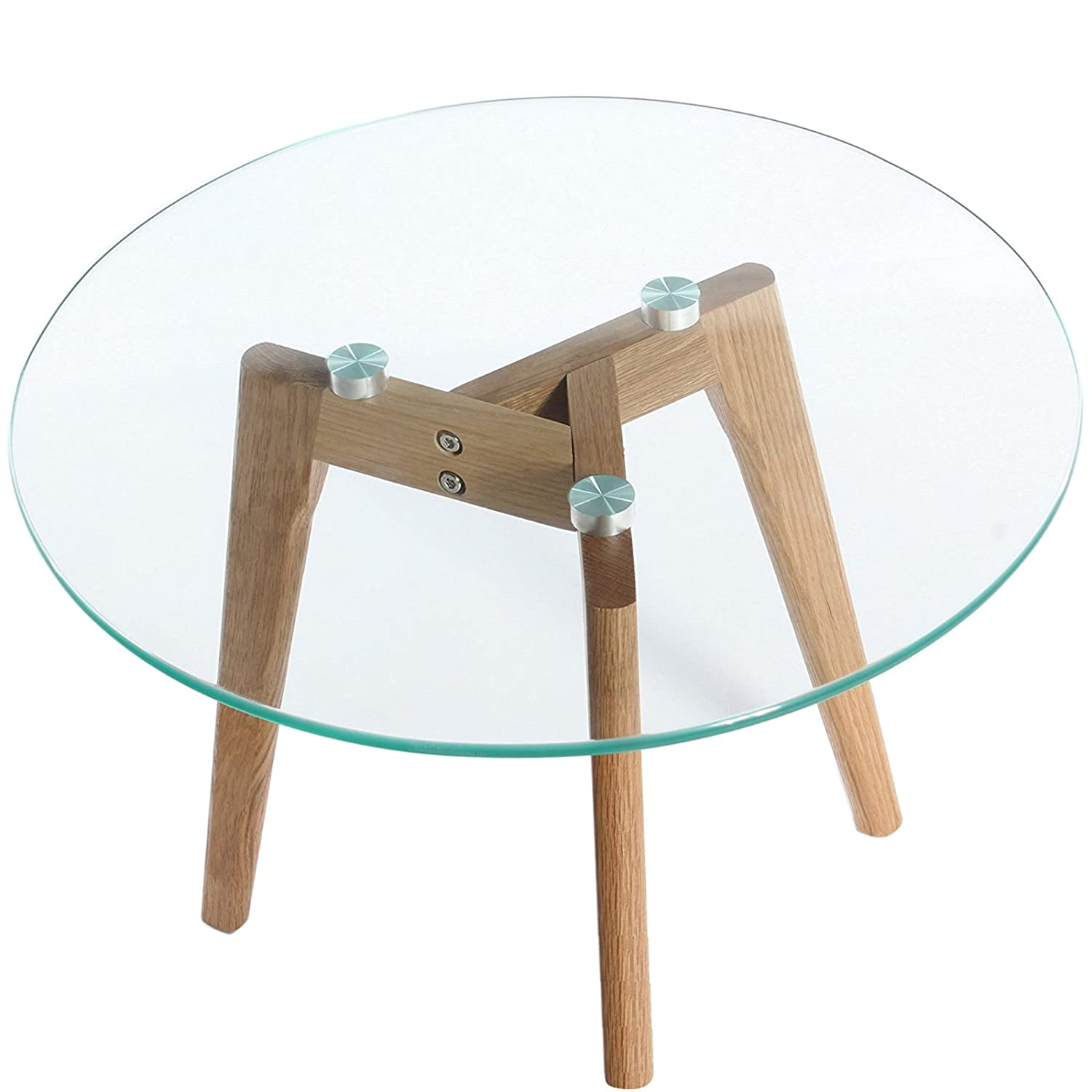 Charles Jacobs Round Coffee/Side Table with Solid Wood Oak Legs and Glass Top - 60cm Diameter