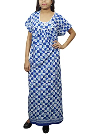 Indiatrendzs Womens Nightgown Cotton Printed Long Maxi Dress Blue White   Amazon.in  Clothing   Accessories 4ea856601
