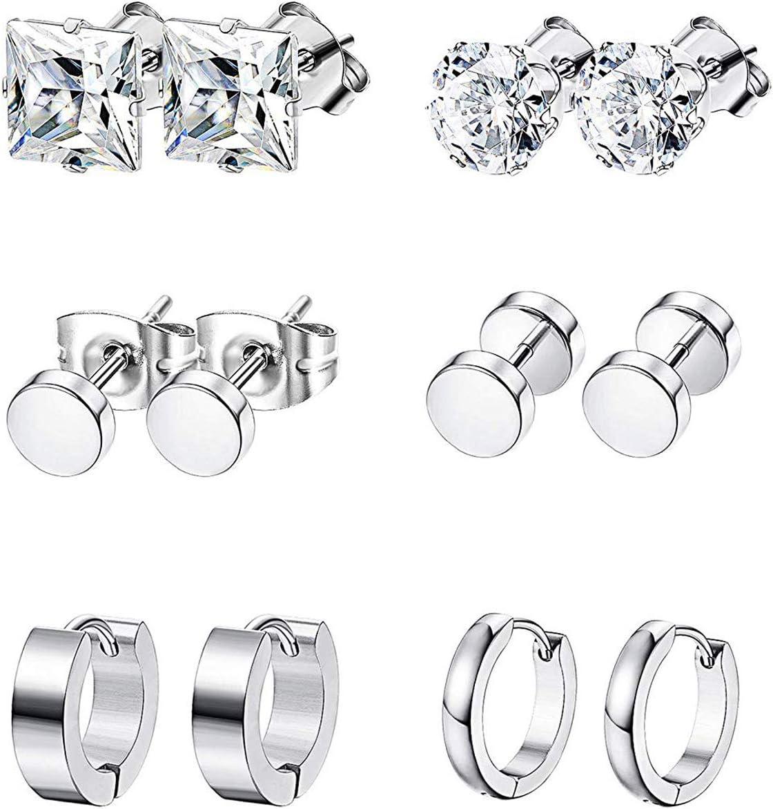 K&Q 6 Pairs Stainless Steel CZ Stud Earrings Hoop Earrings Set Huggie Hoop Ear Piercing for Woman/Men/Teen Girls and Boys Gift