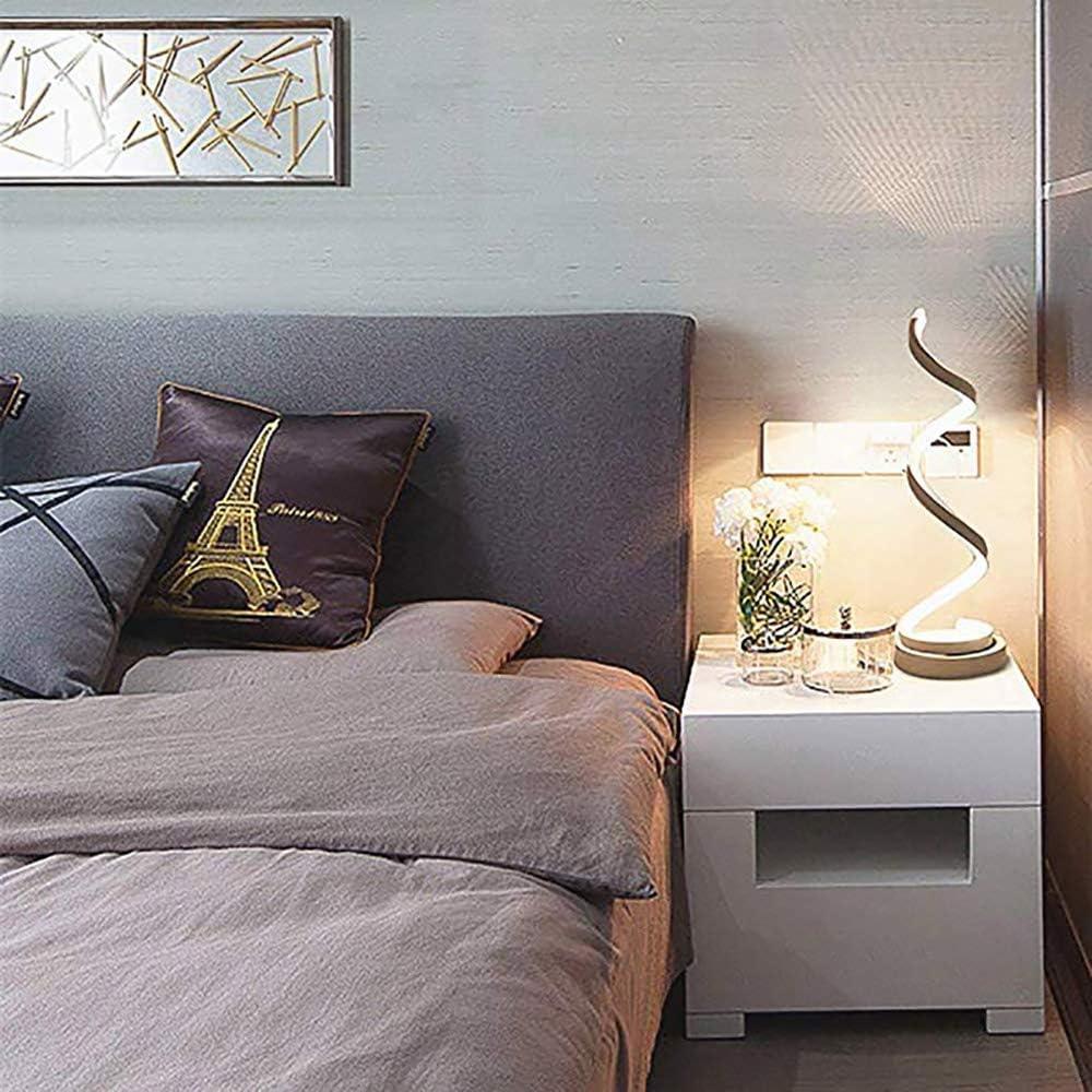 Blanc Chaud OurLeeme Dimmable Moderne Led Lampe de Table 24W Spirale LED Lampe de chevet Design minimaliste Acrylique LED Lampe de lecture pour chambre /à coucher