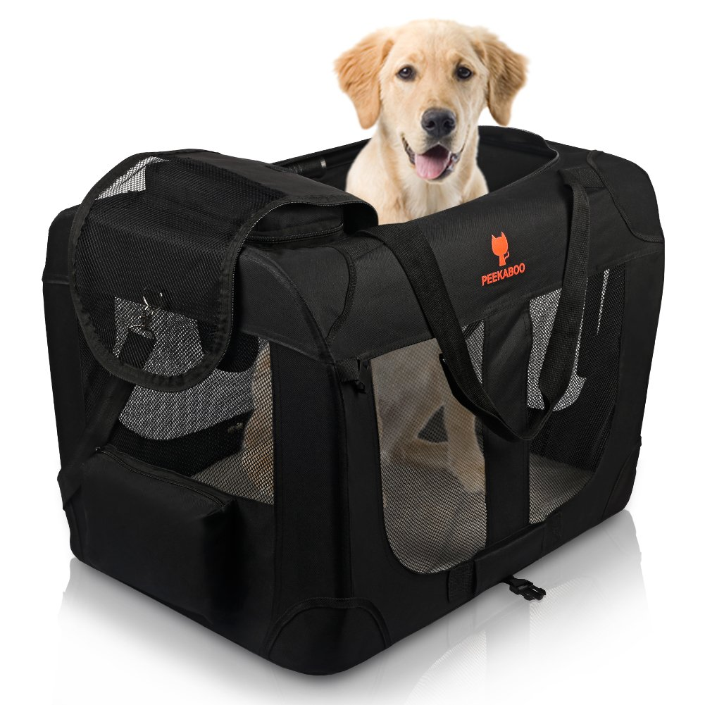 PEEKABOO Foldable Pet Crate Soft Dog Carrier Portable Dog Kennel for Small Medium Dogs Cats Indoor Travel Outdoor