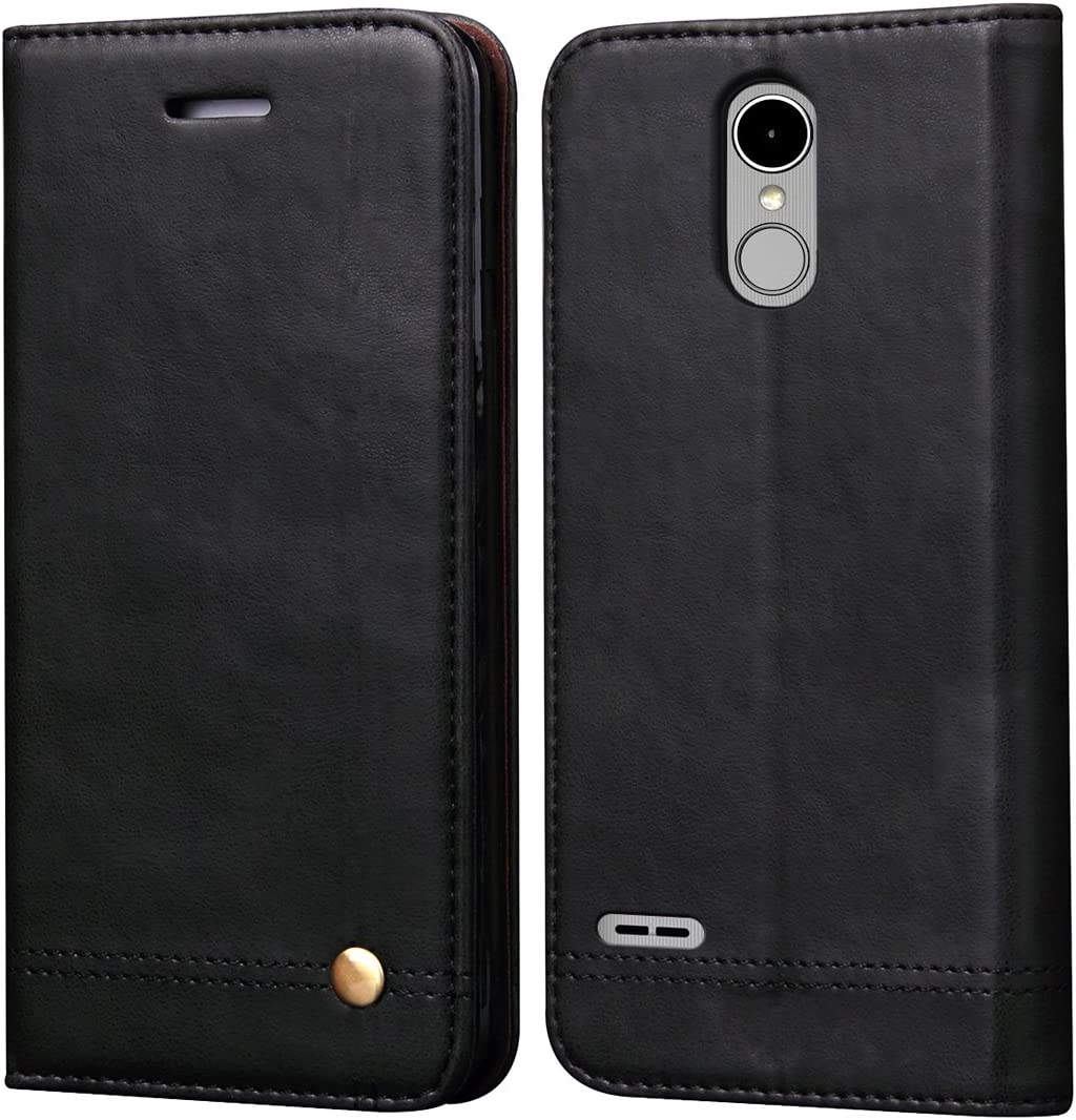 LG Stylo 3 Case, LG Stylo 3 Plus Case,RUIHUI Luxury Leather Wallet Folding Flip Protective Case Shell Cover with Card Slots,Kickstand Feature and Magnetic Closure (Black)
