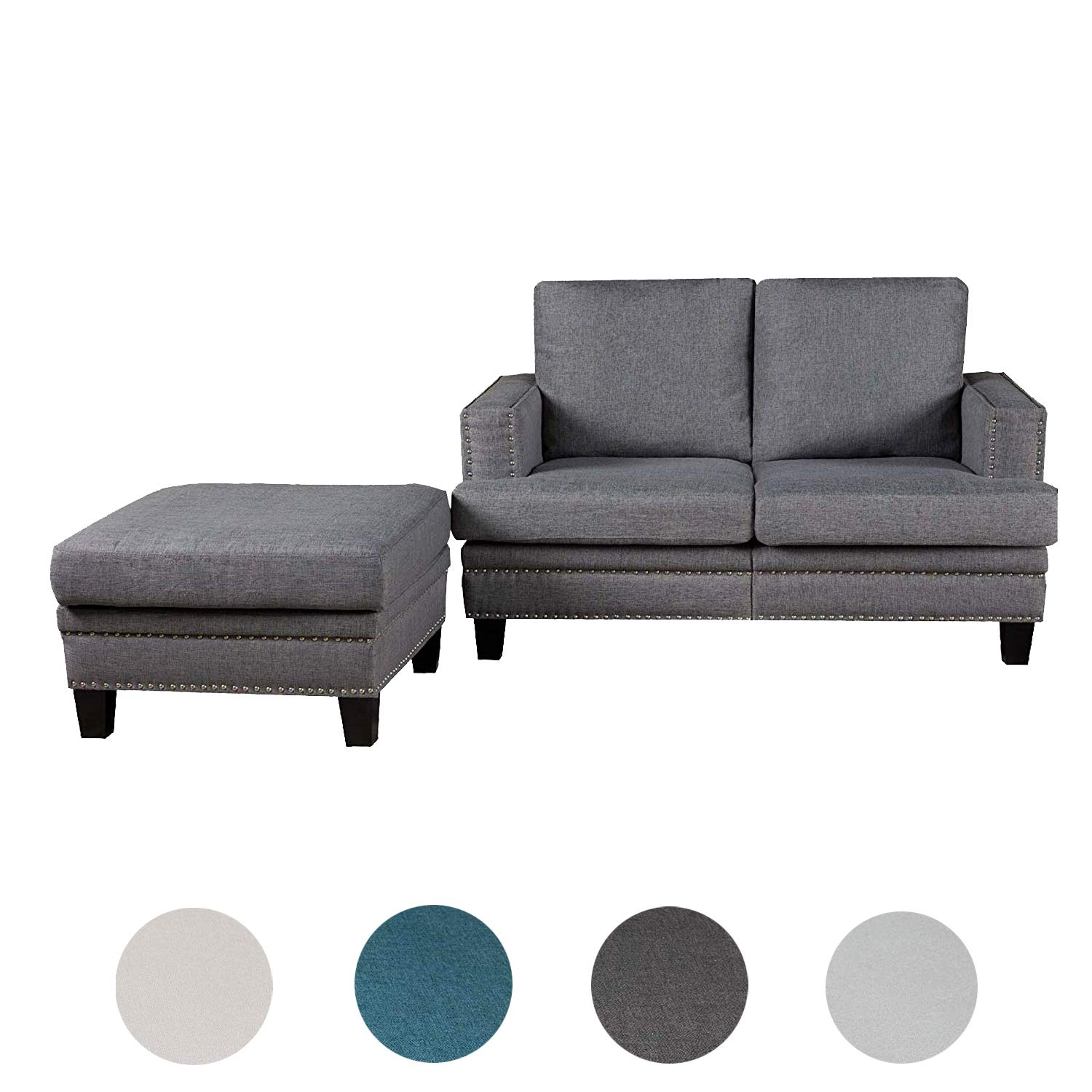Top Space Loveseat Couch Modern Upholstered Mid Century Sofa Casual Arm Chair/Ottoman Linen Fabric Footstool Rivet Design Household Change Shoe Bench Sofa Living Room Furniture(2 PCs, Dark Grey) by Top Space
