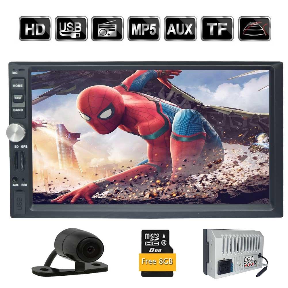 BluetoothのMP5プレーヤーカーラジオ1080Pオーディオのサポートミラー/ SD / USB / AUX / FM / AM +リアビューカメラ(含まれていない日本地図)とEinCarダブル2DIN 7インチ車のラジオインダッシュヘッドユニットHDタッチスクリーン車ステレオGPSシステム B07CG4GKPP